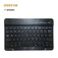 7inch Spanish Language Aluminum Wireless KEYBOARD Bluetooth 3 0 For Apple IOS Android Tablet Windows PC