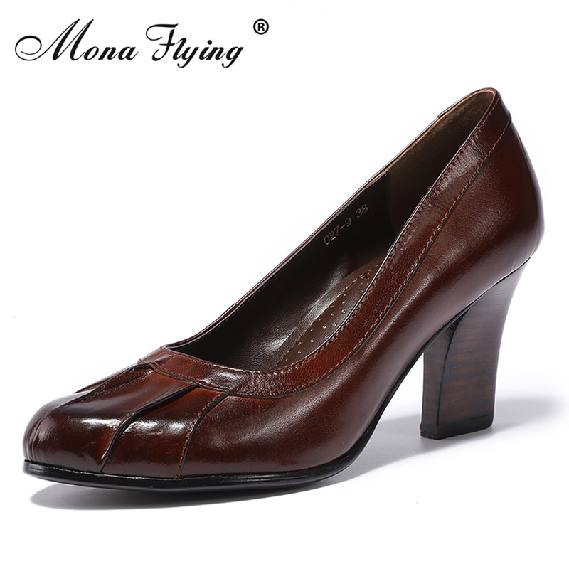 Women Genuine Leather Pumps Shoes 2018 NEW Women Office Dress Shoes for Women Office Pumps Ladies Big Size Handmade shoes 027-9