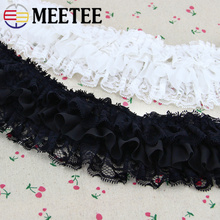 2Yards 10cm Meetee Three - layer Chiffon Lace Trim DIY Skirt Dress Clothing Accessories AP2170