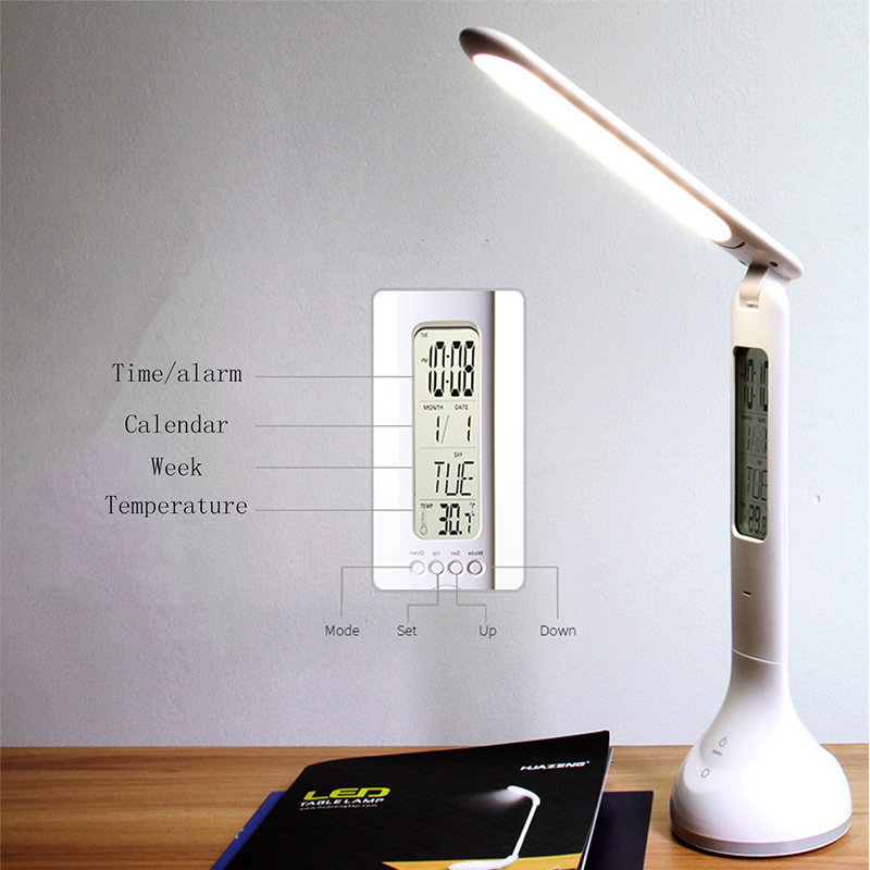 Multifunction LED Desk Light With Alarm Clock Foldable Dimmable Desk Table Lamp Calendar Temperature Atmosphere Colors Changing цена