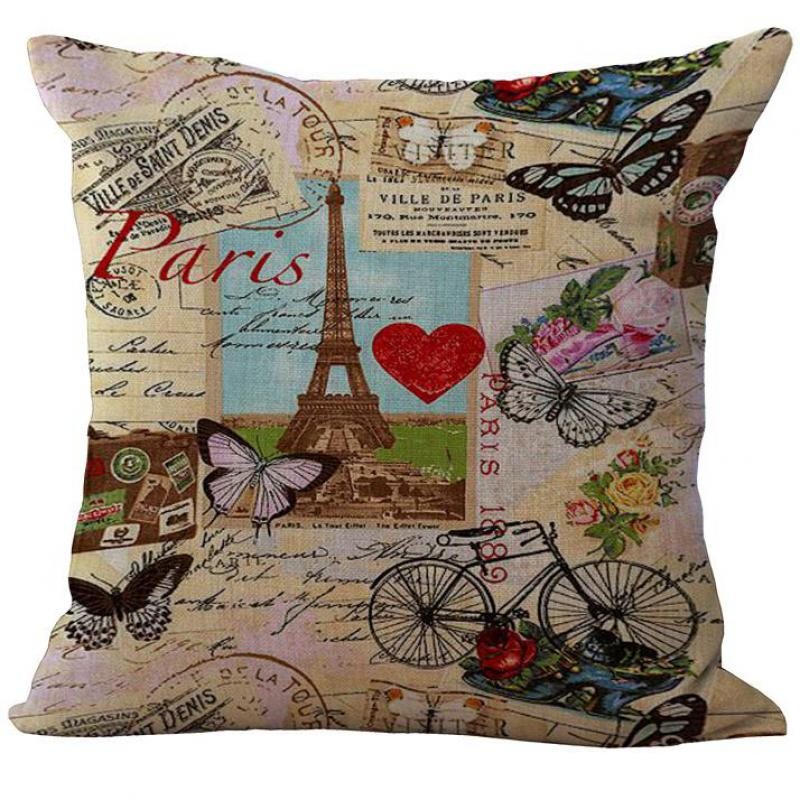Great Factory Direct Supply New Design France Paris Tower Printing Linen  Decorative Pillow Case Cushion Cover For