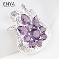 ENYA Holiday Gift Romantic Synthetic Purple Amethyst Pendant Fashion Silver Plated Pendants For Women Wedding Jewelry P0458