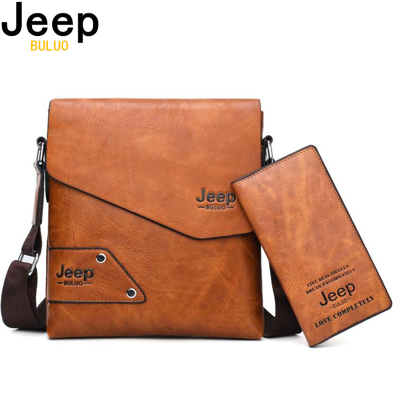 Galleria fotografica JEEP BULUO Man's Messenger Bag 2PCS Sst Hot Sale New Crossbody Shoulder Bags For Men Business Casual High Quality Leather Tote