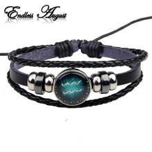 Fashion Buckles 12 Zodiac Signs Bracelets Bangles Handmade Vintage Punk Leather Bracelet For Men Women Charm