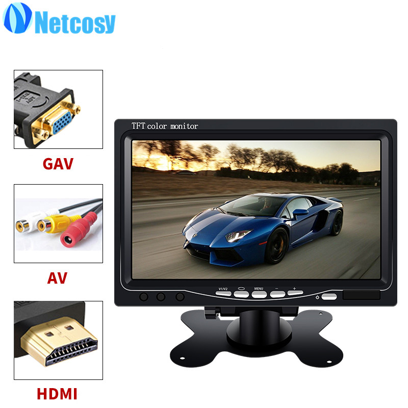Netcosy 7 TFT Color Monitor AV/VGA/HDMI LCD Monitor For TV for Raspberry Pi 3 & LCD remote & Cable & Holder stand aputure digital 7inch lcd field video monitor v screen vs 1 finehd field monitor accepts hdmi av for dslr