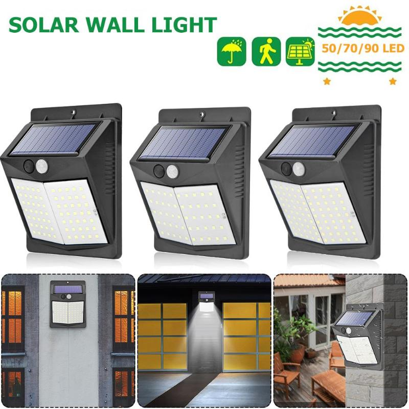 Imperméable 70 DEL Énergie Solaire PIR Capteur De Mouvement Mur Lumière Extérieure Lampe De Cour
