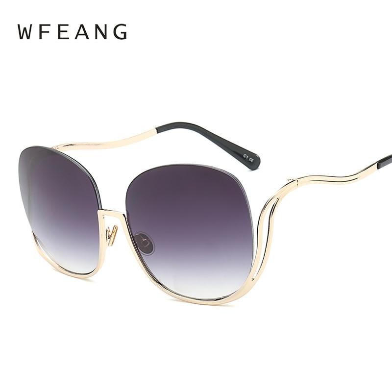 Fashion Sunglasses Unique Oversized Designer Women Brand WFEANG Gafas-De-Sol Party Elegant