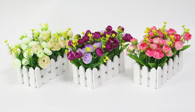 Wedding Decor Artificial Tea Rose Simulation Artificial Flowers Small Potted Plant Fake Rose Set With White Picket Fence Festive & Party Supplies Artificial & Dried Flowers