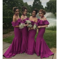 Fuchsia Long Mermaid Bridesmaid Dresses Boat Neck Off Shoulder Satin Cheap Maid Of Honor Gowns Wedding Party Formal Dress 2018