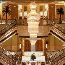 Lámpara de cristal moderna y sencilla luces de doble escalera doradas, candelabro de cristal de lujo, sala de estar faros para, candelabros, Lmy 020