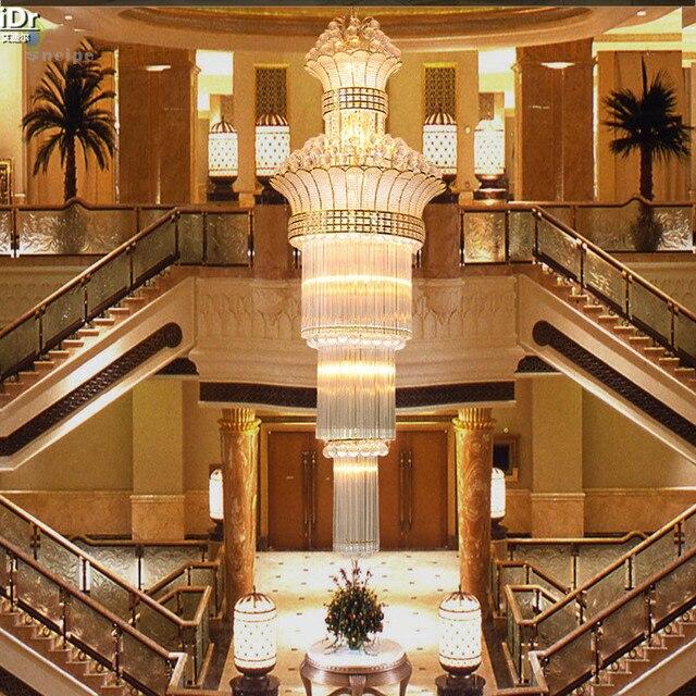 현대적이고 간단한 크리스탈 램프 황금 더블 계단 조명 럭셔리 크리스탈 샹들리에 거실 헤드 라이트 샹들리에 Lmy 020