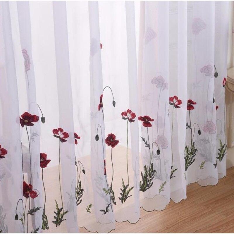 Clássico branco puro bordado flor vermelha cortinas de tule para sala estar simples pastoral tela da janela voile quarto cortina