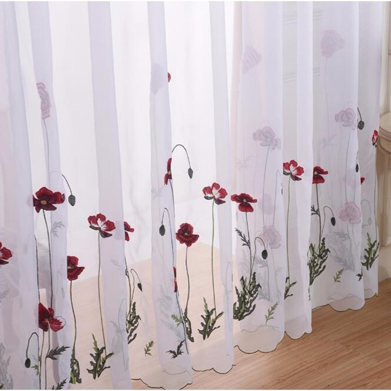 Classic White Sheer Embroidered Red Flower Curtains Tulle For Living Room Simple Pastoral Window Screen Voile Curtain Bedroom