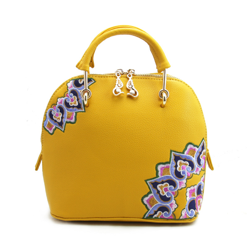 2017 New Designer Women Handbags Embroidery Flower Leather Embroidery bag Ladies