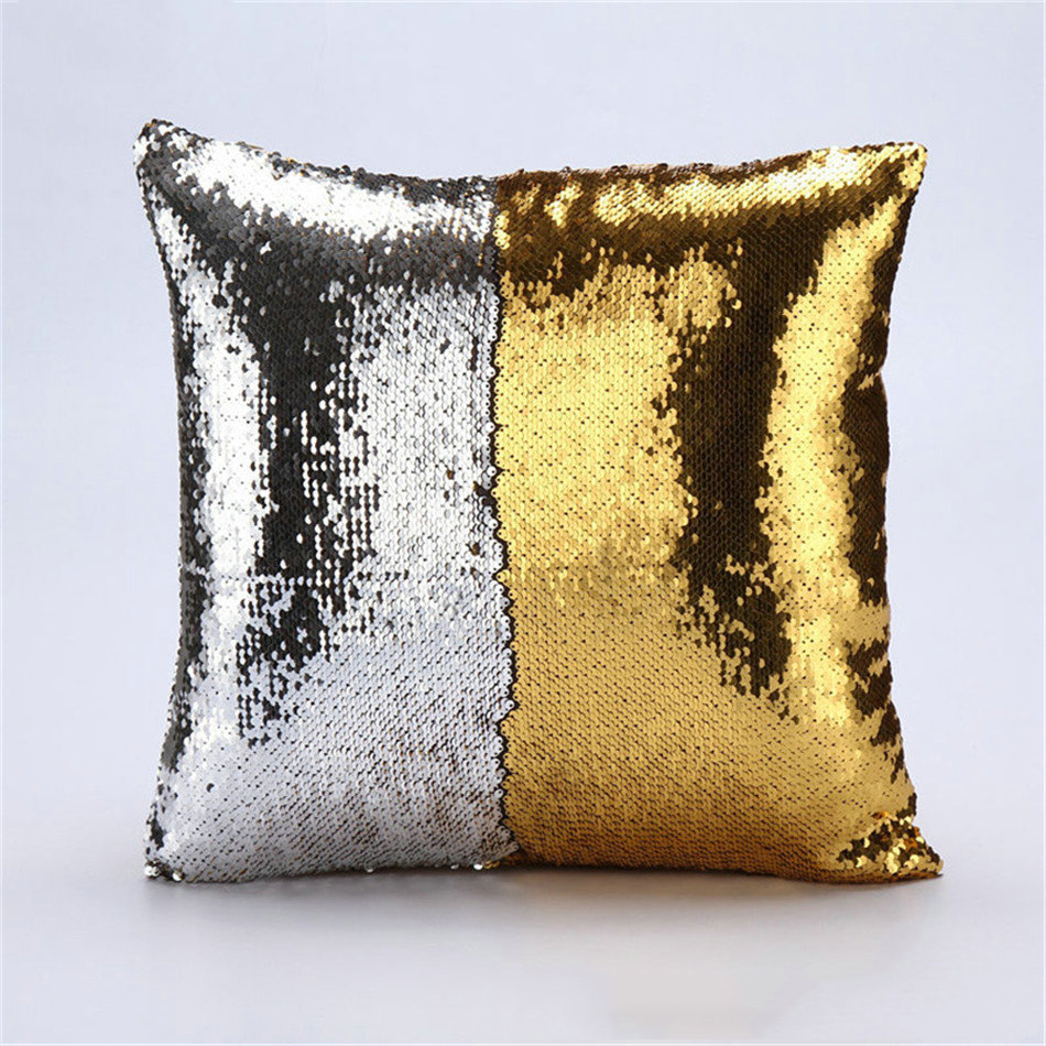 Wholesales Sequin Pillow Cover Mermaid Cushion Cover Silver Black ...