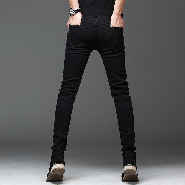Casual Slim elastic black jeans 4