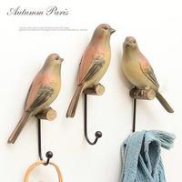 American Style Birds Cute Wall Hooks Decorative Resin Animal Hook Hat Rack Coat Hooks For Hanging