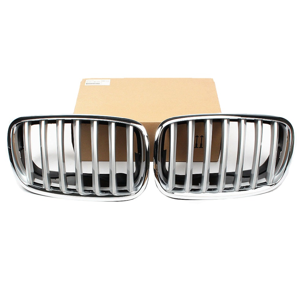 Chrome Pair Front Air Intake Hood Bumper Center Radiator Left Right Kidney Grille Grill For BMW X5 E70 30ix 35d 35ix 48i X6 E71