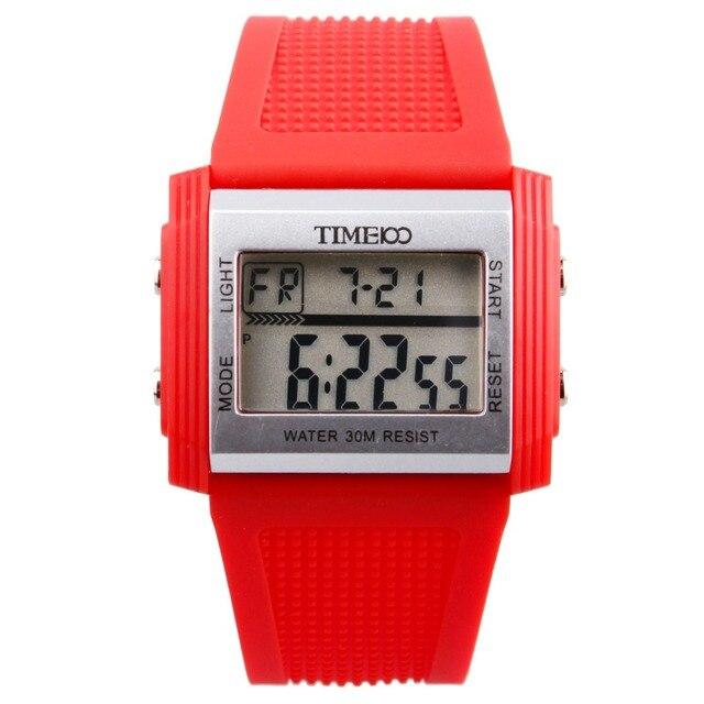2016 новый TIME100 детей цифровой многофункциональный сигнализации прямоугольник циферблат студенты спортивные часы желе силиконовой лентой электронные часы