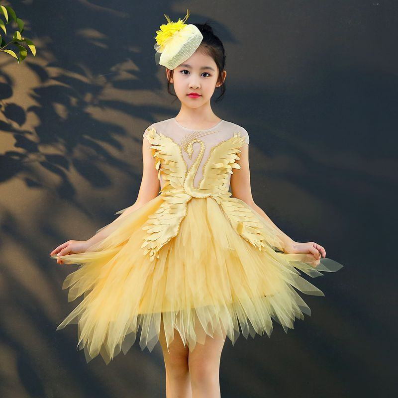 Children Elegant Princess Fluffy Irregular Gauze Party Dress Teens Girls Swan Beading Vestidos Christening Gowns For 3-14Y Q98Children Elegant Princess Fluffy Irregular Gauze Party Dress Teens Girls Swan Beading Vestidos Christening Gowns For 3-14Y Q98