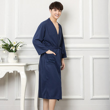 New Cotton Men Robe Summer Casual Home Wear Solid Color Sleepwear Male Dressing Gown Loose Nightgown Oversize Kimono Bathrobe
