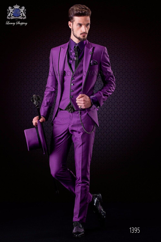 Latest Coat Pant Designs Italian Purple Tuxedo Jacket Slim Fit Men Suit 3 Piece Blazers Custom Groom Prom Suits Terno Masuclino