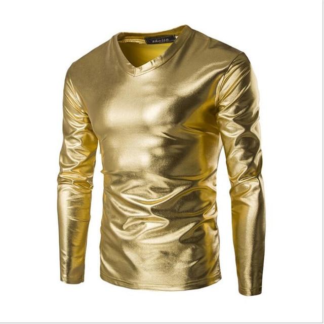 2a5cd943b Mężczyzna T koszula powlekane metalowe srebrny złoty koszulka męska nocny  klub kostium stylowa błyszcząca Tshirt mężczyzna