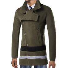 Men Jacket Warm Winter Trench Long Outwear Button Smart Overcoat parka Men Casual Slim Long winter