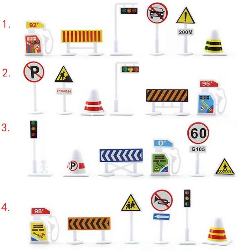 Traffic Road Signs Car Toy Accessories Kids Children Play Learn Toy GameModel Toy Roadblock Educational Toy Gifts For Kids