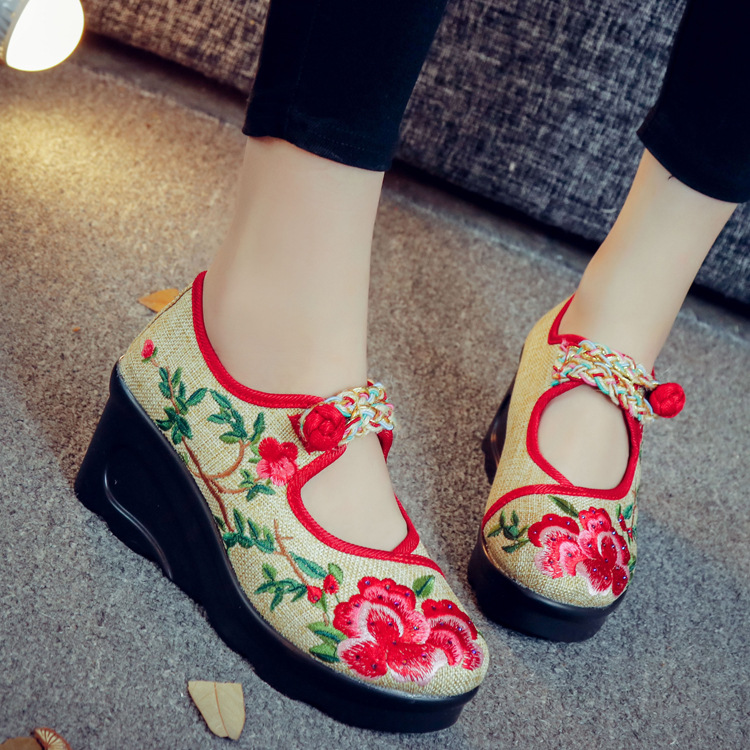 Size 40 New Fashion Womens Canvas Flats Ladies Cheap Cow Muscle Flat Chinese Flower Embroidery Shoe  Loafers Driving Shoes 2017 new fashion women chinese style embroidery flower cloth shoes flats female casual canvas driving shoes gray plus size f003