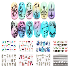 LEMOOC 45Pcs/Set Water Decals Feather Animal Patterns Nail Transfer Sticker Art Decoration for DIY Nails