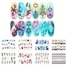 LEMOOC 45Pcs/Set Water Decals Feather Animal Patterns Nail Transfer Sticker Art Decoration for DIY Nails
