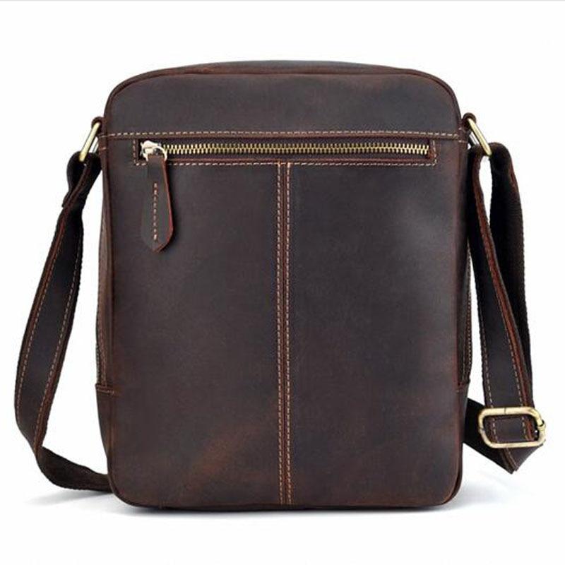 Для мужчин Винтаж Crazy Horse коровьей сумки через плечо мессенджер портфели бренд тренд вертикальный высокое качество Слинг Сумка - 2