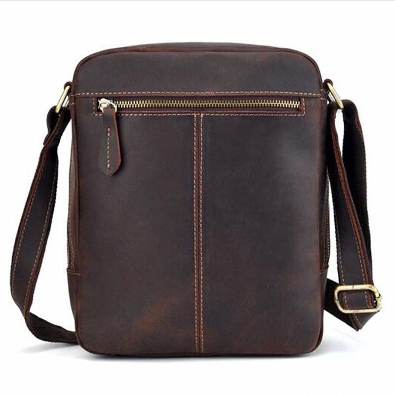 Men Vintage Crazy Horse Cowhide Cross Body Bags Men Messenger Briefcase Brand Trend Vertical High Quality Sling Shoulder Bag - 2