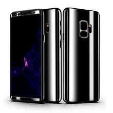 360 Degree Shockproof Cases For Samsung Galaxy S9 Plus S9+ Phone Case For Samsung S9 S 9 Plating Mirror Full Cover + Glass film s9 360 degree protection hard case for samsung galaxy s9 s 9 cover shockproof case for samsung galaxy s9 plus s9 case glass