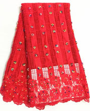 Item No.SRFG10,high class African guipure lace fabric with beads,good looking embroidered cord lace for party dress!