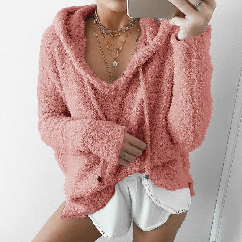 Long Sleeve Oversized Hooded Sweatshirt Women Casual Loose Fleeces Jumper Top Hoodies Outwear Coat Solid velvet Pullover