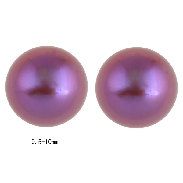 9.5-10mm Sold By Pair Bracing Up The Whole System And Strengthening It Purple Honey Yyw Half Drilled Cultured Freshwater Pearl Beads,fashion Jewelry In Bulk Dome Half-drilled
