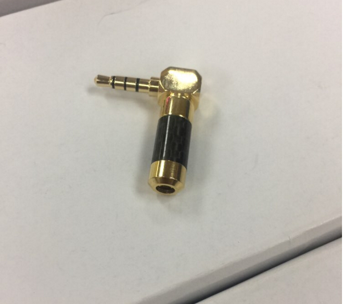 carbon fiber Gold Plated straig and 90 Degree L Shape Right Angled 4 Pole <font><b>3.5mm</b></font> <font><b>TRRS</b></font> Jack Male <font><b>Plug</b></font> Audio Connector Solder 20pcs image