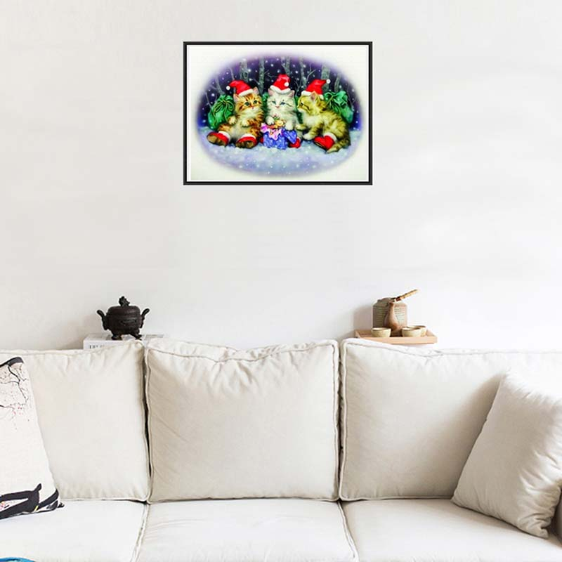 Christmas Decor Three kittens DIY 5D Round diamond painting embroidery cross stitch Home Decor dimond mosaic religious Gift p20