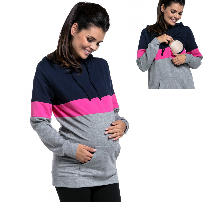 Striped Pregnancy Nursing Long Sleeves Maternity Clothes Hooded Breastfeeding Tops Patchwork T shirt for Pregnant Women