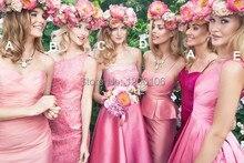 Sweetheart Sheath Knee Length Pink Kelsey Rose Style Short Affordable Bridesmaid Dresses for Wedding
