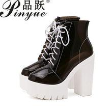 aff0d0343b9 Толстые каблуки платформы Женские осенние сапоги прозрачные ботильоны  женская обувь со шнуровкой на платформе Обувь на