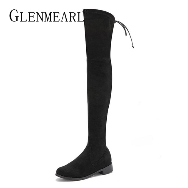 High Boots Women Over The Knee Winter Shoes Flat Black Stretch Lace Up  Thick Heels Round ac2b819edf