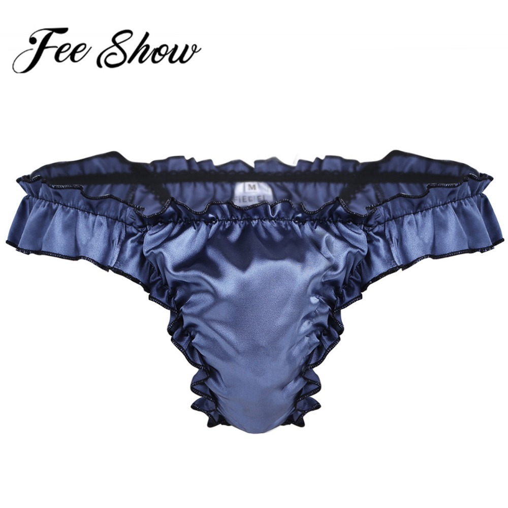 Hot Sale Sexy Men Satin Underwear T Back Sissy Panties Grid Thong Seamless Enhance Pouch Gay Bikini Briefs Pants Men Underpants(China)