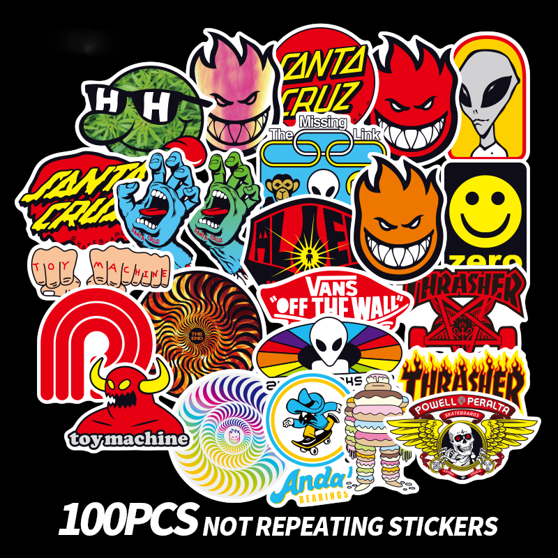 100 PCS Skateboard Fashion brand Logo Waterproof Sticker For Luggage Car Guaitar Skateboard Phone Laptop Bicycle Stickers rysunek kolorowy motyle