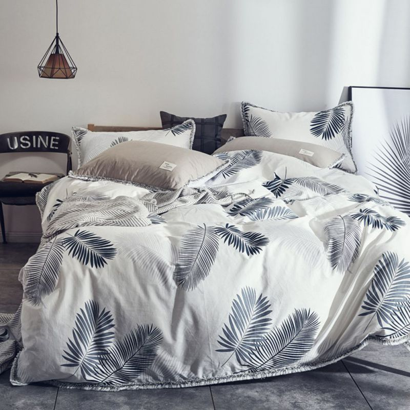 Leaves Print Bedding Supplies Bedding Set Home for Quilt Soft Tassel Bed Double Cover with 4Pcs Pillow Sheet SingleLeaves Print Bedding Supplies Bedding Set Home for Quilt Soft Tassel Bed Double Cover with 4Pcs Pillow Sheet Single