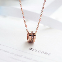YUN RUO New Arrival Rose Gold Color Fashion Three Circles Pendant Necklace Titanium Steel Woman Jewelry Gift Not Fade Wholesale