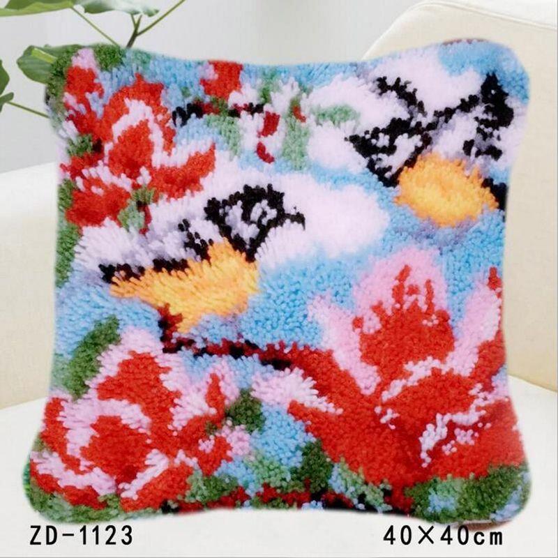 Embroidery Pillows Handwerken Knooppakket Stitch Canvas DIY Klink Haak Pillowcase Flowers Birds Hold Pillow For Bedroom Decor