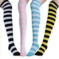 6 Colores de Moda Clásica Mujeres calcetines de Caña Alta Calcetines A Rayas Sobre la Rodilla Medias de Algodón